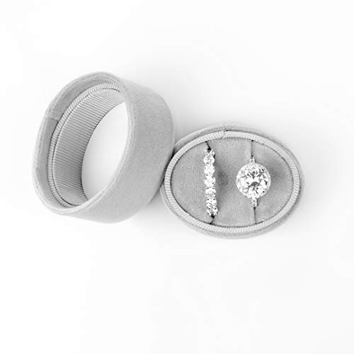 Koyal Wholesale Double Oval Velvet Ring Box, Vintage Gray Wedding Ceremony Ring Box with Detachable Lid, 2 Piece Engagement Ring Box Holder, Proposal Idea, Slim Ring Box with Cushion
