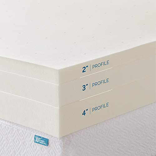 LUCID 3 Inch Ventilated Memory Foam Mattress Topper 3-Year U.S. Warranty - Queen