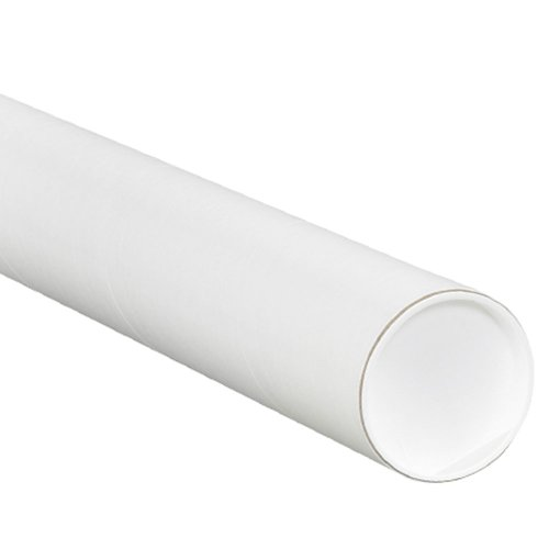 Aviditi P4018W Mailing Tubes with Caps, 4'' x 18'', White (Pack of 15) by Aviditi
