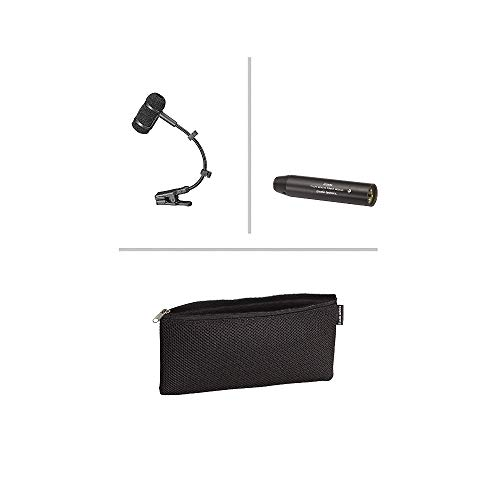 Audio-Technica PRO 35 Cardioid Condenser Clip-on Instrument Microphone bundle with Knox Portable Phantom Power Supply and 2 XLR Cables