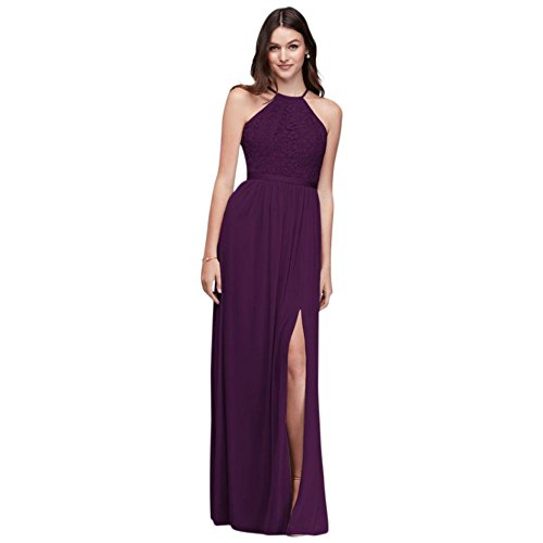 Dress 4XLF19608 Back Bridesmaid Bridal Style Halter Extra Plum Length Bodice David's Open xBqYRvxw