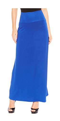 Red Hanger Women's Stylish Solid Long Maxi Skirt - Made In USA, Royal Blue-XL