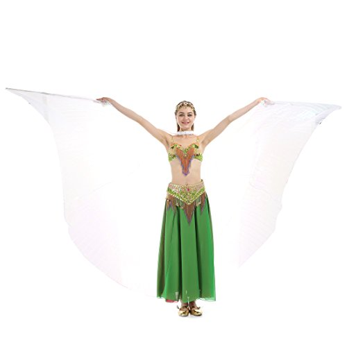 Isis Costume Video (iMucci 110CM With Stick 360 Degree Egypt Indian Belly Dance Wing Fan Bellydance Isis Wings (Child white))