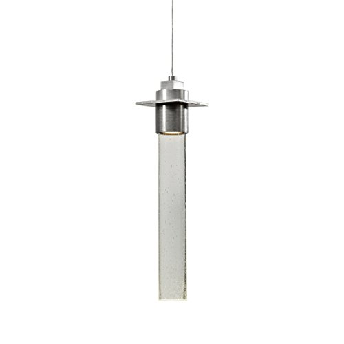 Hubbardton Forge 161020-1000 Vintage Platinum (-82) Hubbarton Forge Airis Low Voltage Mini Pendant, Seeded Clear Glass, Single - Cable Finish