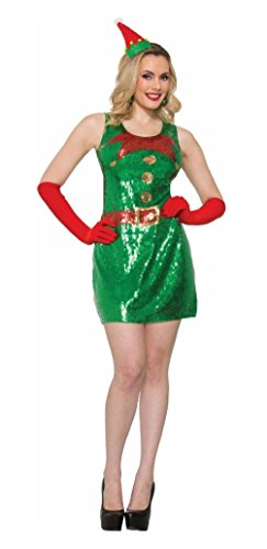 Sexy Waldo Dress Costumes (Sexy Elf Dress Sequins Costume Fancy Dress Christmas Adult Womens XS/SM - MD/LG)