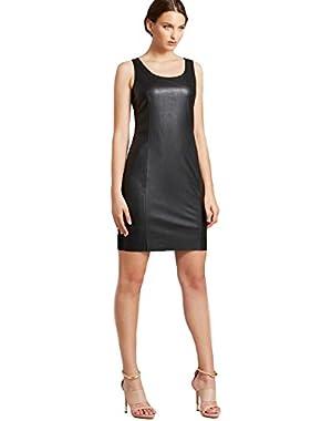 Calvin Klein Women's Leather Ponte Sleeveless Sheath Dress Solid Black
