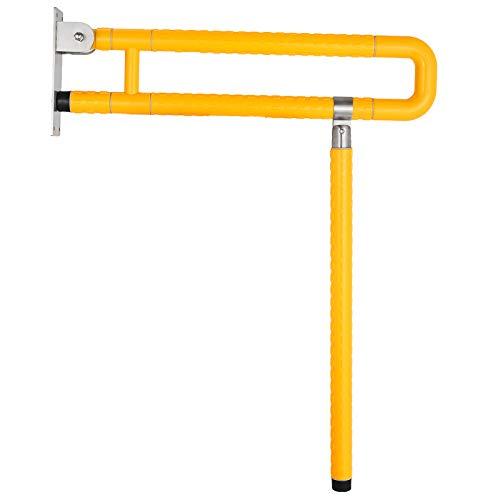 (VEVOR Foldable Toilet Grab Bar Safety Frame Rails Flip-Up Skid Resistance Handicap Bathroom Seat Support Bar Toilet Hand Grips for Home Hotel Disabled Aid Pregnant Elderly R-Shape Rail (Yellow R))
