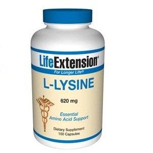 Life Extension L-lysine 620mg Capsule, 100-Count