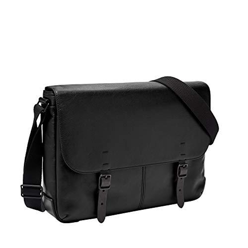 Fossil Men's Buckner Messenger Black Laptop Bag, One Size