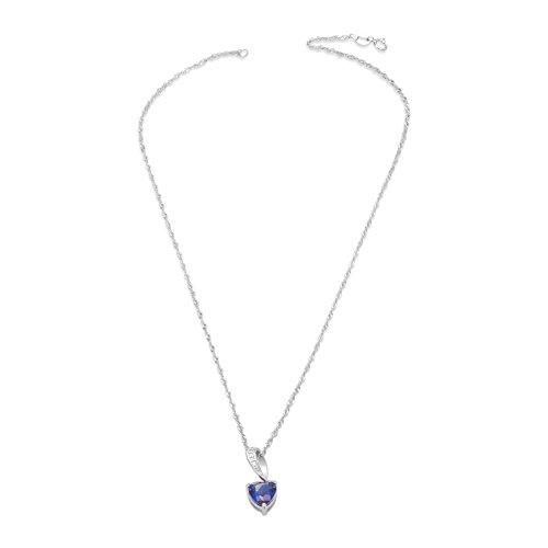 SWEETIE- 925 Pur Argent collier , avec Mazarine AAA Zircon Pendentif Coeur, Argent, 400mm