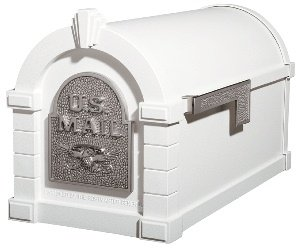 Gaines KS-23A - Eagle Keystone Series Mailboxes - White/Satin Nickel
