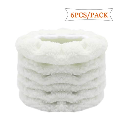 AUTDER Car Polisher Bonnet (7 to 8 Inch) - Woolen Max Waxer Pads - Polishing Bonnet Pad for Most Car Polishers Pack of 6Pcs - White ()