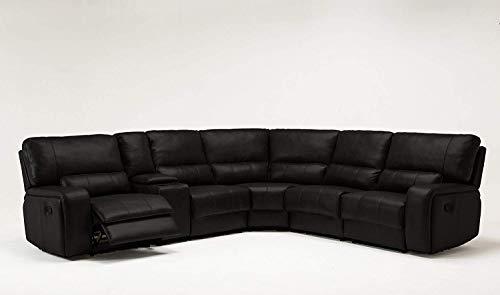 Blackjack Furniture 7096-BLACK Sectional Leather Match Sofa,