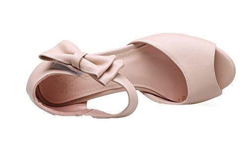Toe Peep Bequeme Heels Sandalen Blockabsatz und Damen High Pumps UH Knöchelriemchen Schuhe Chunky mit mit Schleife 6txq0n8w