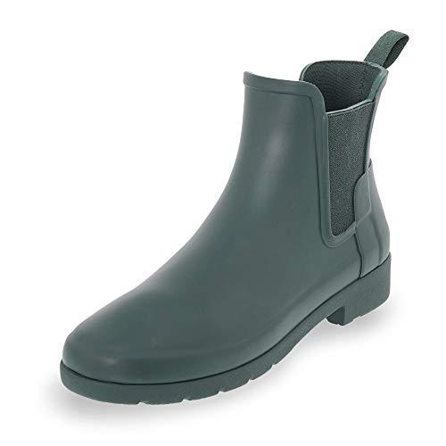 Womens Hunter Original Chelsea Refined Rubber Waterproof Ankle Rain Boot - Green - 8