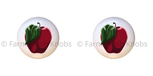 (SET OF 2 KNOBS - Red Apple Fruit - Food and Drink - DECORATIVE Glossy CERAMIC Cupboard Cabinet PULLS Dresser Drawer KNOBS)