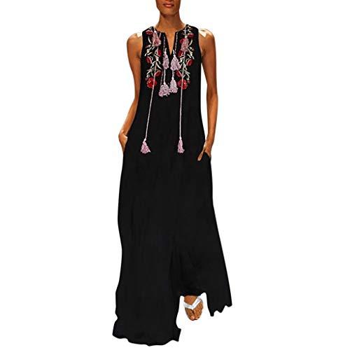 TEVEQ Women Maxi Dress Vintage Dresses for Women Plus Size Dress Sleeveless Floral Summer Boho Dress Black -