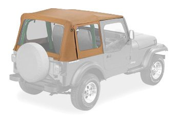 Tailgate Skin - Bestop 79120-37 Spice Sailcloth Replace-A-Top Soft Top with Clear Windows and Upper Half Door Skins for 1988-1995 Wrangler YJ