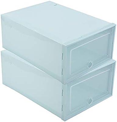 Wifehelper 2 Unids Caja De Almacenamiento De Zapatos De Plástico Transparente Tidy Organizador Caja para Recoger Libros Alimentos Comestibles Zapatos Comestibles Joyería CDs(Azul): Amazon.es: Hogar