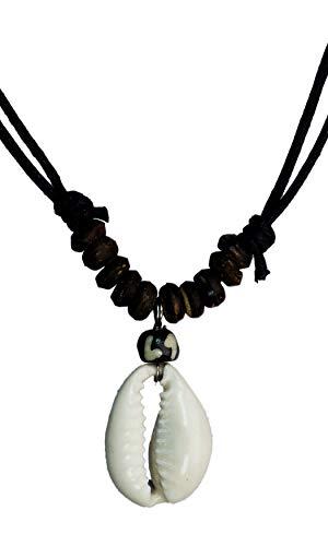 exoticdream Cowrie Necklace Natural Shell Handmade Hawaii Wakiki Beach Choker Boho Jewelry Brown Cord Adjustable I + Cowrie ()