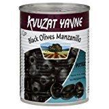 Kvuzat Yavne Black Olives Manzanillo Pitted KFP 19 Oz. Pack Of 6.