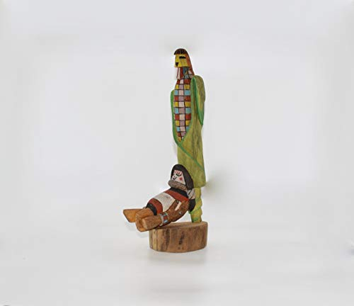 AMAZING DETAIL Hopi Cottonwood Corn Maiden Kachina Sculpture with Smiling Grandmother Fertility Symbol