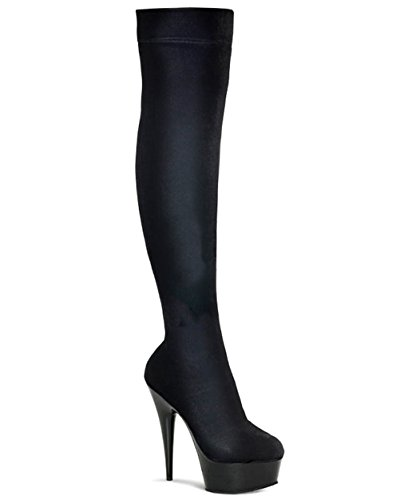 Pleaser Delight-3002 5 3/4 Inch Sexy Black Thigh