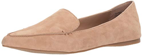 Steve Madden Women's Feather Loafer Flat, Camel Suede, 8 M US