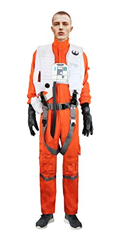 X-Wing Resistance Pilot Costume Jumpsuit Chestbox Vest Gloves Harness Star Wars (M)]()