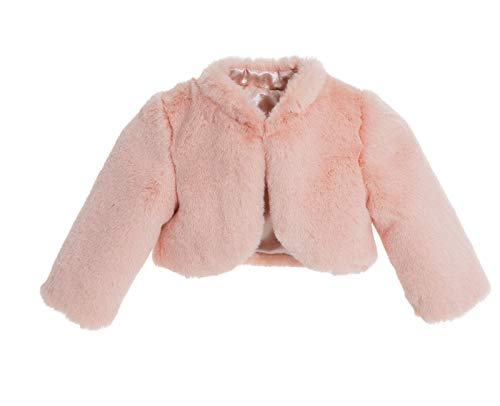 (ekidsbridal Blush Pink Faux Fur Capes Flower Girl Bolero Cozy Fur Jacket Princess Cape Dress Cover Up Flower Girl Shrug Dress Coat 5)