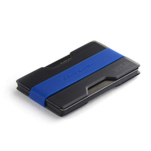 Radix One Slim Wallet (Smoke/Dark Blue) - Minimalist Front Pocket Ultralight Polycarbonate Wallet Money Clip