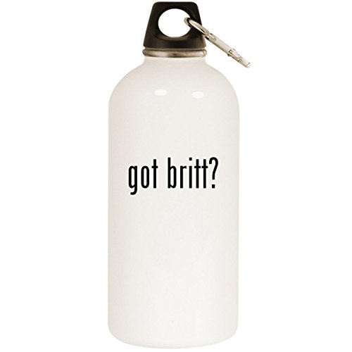 Molandra Products got Britt? - White 20oz Stainless Steel Water Bottle with Carabiner