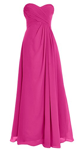 MACloth Women Strapless Long Chiffon Bridesmaid Dress Wedding Evening Party Gown Fuchsia