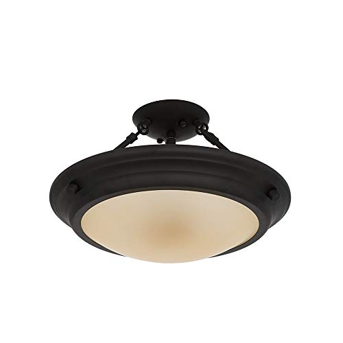 (Ravenna Home Classic Glass Semiflush Mount Pendant, Bulbs Included, 9.75