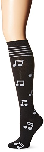 K. Bell Women's Single Pack Novelty Knee High Socks, Musical Notes, 9-11