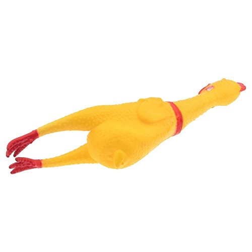 new Dealglad® Funny Rubber Screaming Yellow Chicken Kids Pet Dog Squeak Chew Prank Joke Relax Toy (S-17cm)