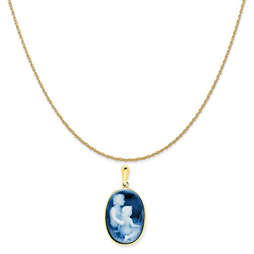 Mireval 14k Yellow Gold Family Siblings Cameo Pendant on a 14K Yellow Gold Rope Chain Necklace, 20
