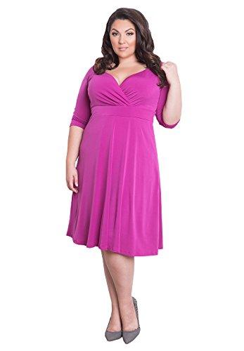 IGIGI Womens Plus Size 3/4 Sleeve Knee-Length Designer Cocktail Dress -Francesca Magenta 30/32