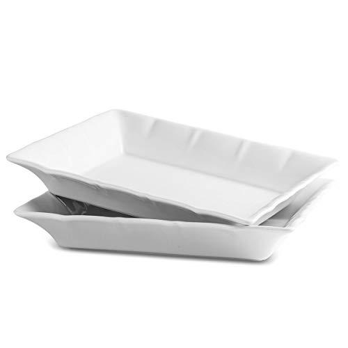 Porcelain Baking Dish Lasagna Pan Serving Tray, 2 Quart Casserole Baking Pan for Serving, 2 Pack Bakeware Set,White 1/2 Inch Rectangular Baking Dish