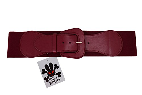 Hell Bunny Retro Vintage Chunky Buckle Wine Red Elastic Wide Stretch Waist Belt (M) (Belt Wine)