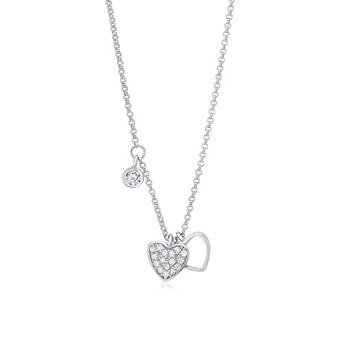 UNICORNJ Sterling Silver 925 Double Heart Charm Necklace Pendant with Dangle Accent CZ on Rolo Chain 16