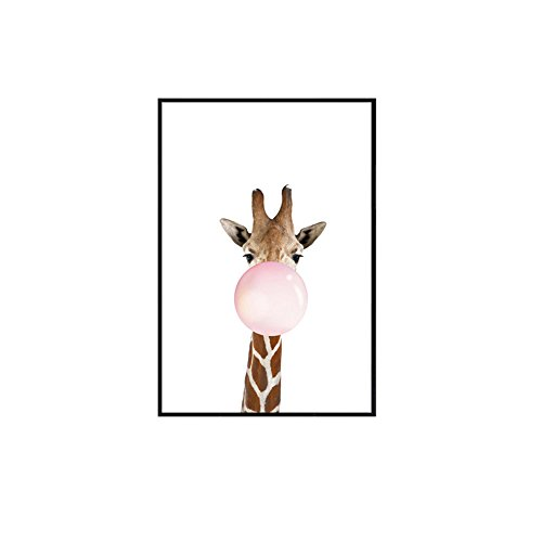 Quedom Canvas Print Wall Art Painting for Children Room with Black Frame Decorative Artwork Animal Series_The Giraffe Blowing Bubble Gum_Brown and White_12'' x 16'' by Quedom