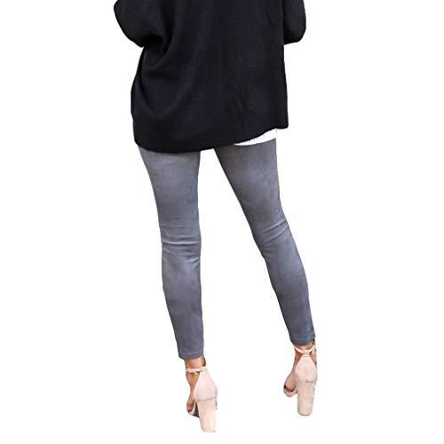 Denim Lampo Skinny Slim Stampati Matita Stretch Elasticizzato Juqilu Pantaloni A Donna xl Cerniera Con Grigio S Jeans Fit Y78w0q