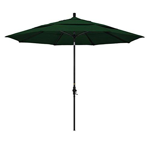 California Umbrella 11' Round Aluminum Pole Fiberglass Rib Market Umbrella, Crank Lift, Collar Tilt, Black Pole, Hunter Green Olefin