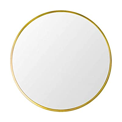 "Beauty4U Large Round Metal Frame Mirror, 19.7"" Wall-Mounted Mirror for Bedroom, Bathroom, Living Room, Entryway, Vanity Mirror, Gold - Modern and Simple design: Diameter of this classic metal frame circle mirror is 19.7 inch with an alloy metal sleek frame, floating round glass panel Excellent and Durable: Our wall mounted mirror made of high quality floating annealed glass which can prevent warping and distortion, give you a real HD imaging. Lead and copper free environmentally friendly silver back keep durable in moist environments Easy to Install: hooks are pre-installed behind the backboard, the package includes screws. It is easy to install and hang - mirrors-bedroom-decor, bedroom-decor, bedroom - 31heVxrKz5L. SS400  -"