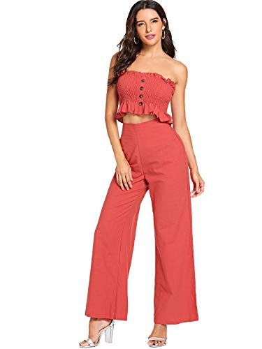 (Floerns Women's Strapless Tube Top and Pants Two Piece Set Rust M)