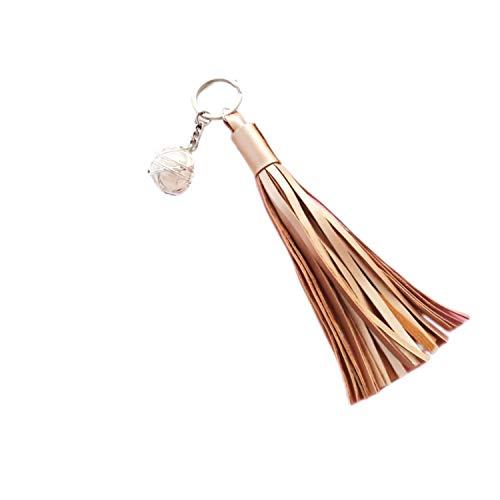 (ZOONAI Women Girls Tassel Keychain Pearl Car Keyring Holder Purse Handbag Pendant (Gold))