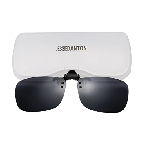 JESSIEDANTON Polarized Clip-on Flip Up Metal Clip Rimless Sunglasses, Lightweight, XL Size, Black Lens