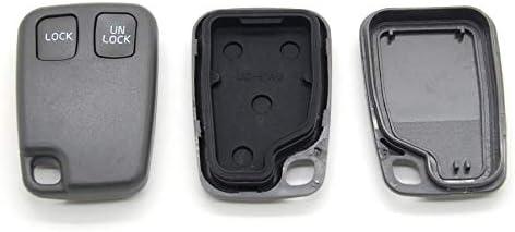 TOOGOO Remplacement 2 boutons Sans cles a distance enveloppe porte-telecommande coquille de Clef de vehicule et bouton tampon Compatible avec VOLVO S40 S60 S70 S80 S90 V40 V70 V90 XC70 XC90
