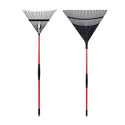 GardenAll 2-Pieces Garden Rakes Tool Set - 30 Teeth Poly Leaf Rake / 24 Teeth Steel Wire Leaf Rake, Adjustable Vinyl Coated Steel Tube Red Handles - Set Rake
